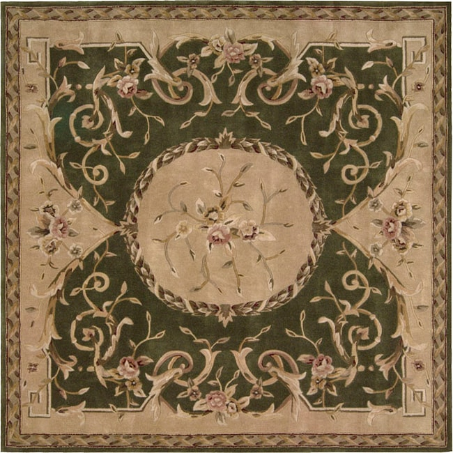 Nourison Hand-tufted Green Floral Wool Rug (7 x 7) Square