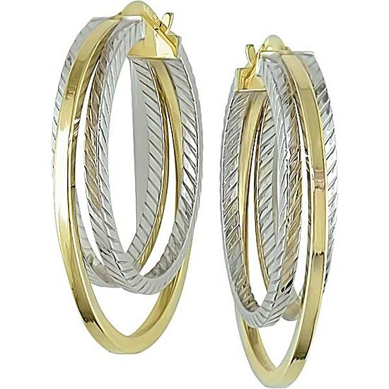 10k two tone gold tube hoop earrings 11362066 overstock com