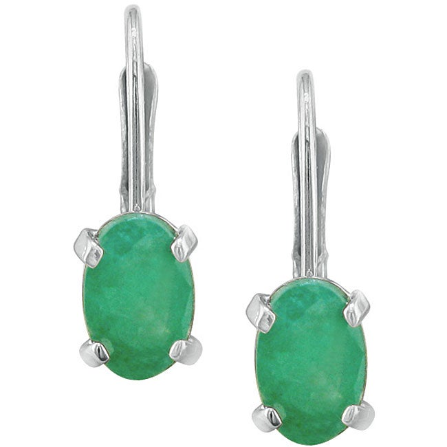 14k White Gold Oval Emerald Leverback Earrings
