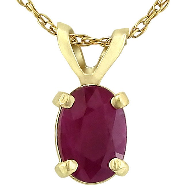 Oval Ruby Yellow Gold Pendant