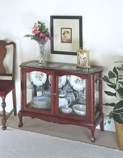 Hand Carved Cherry Finish Curio Cabinet Free Shipping