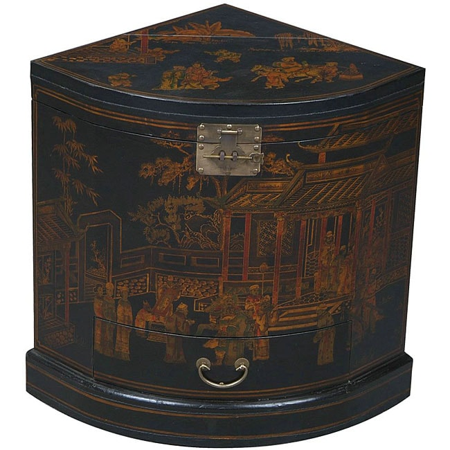 Black Bonded Leather Hand-painted Oriental Corner Cabinet - Free ...