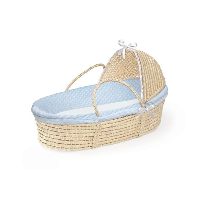Natural Moses Basket with Blue Dot Bedding