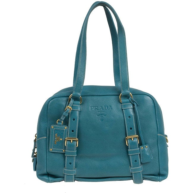 49e3c086a6ca Shop Prada 'Boston' Aqua Pebbled Leather Bag - Free Shipping Today -  Overstock - 3262911