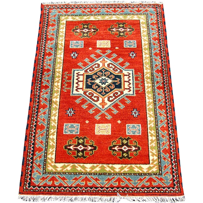 Indo Kazak Hand-knotted Red Rug (3' x 5')