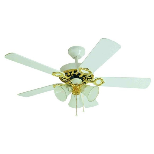 White Polished Finish 42 Inch Ceiling Fan Free Shipping