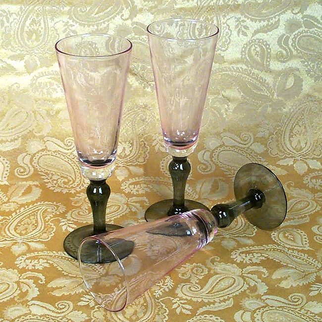 La Rochere Pink and Grey 6-pc  Dessert Coupe Glass Set