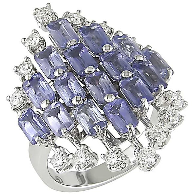 18k Gold Light Blue Sapphire and 5/8ct TDW Diamond Ring (G-H, SI)