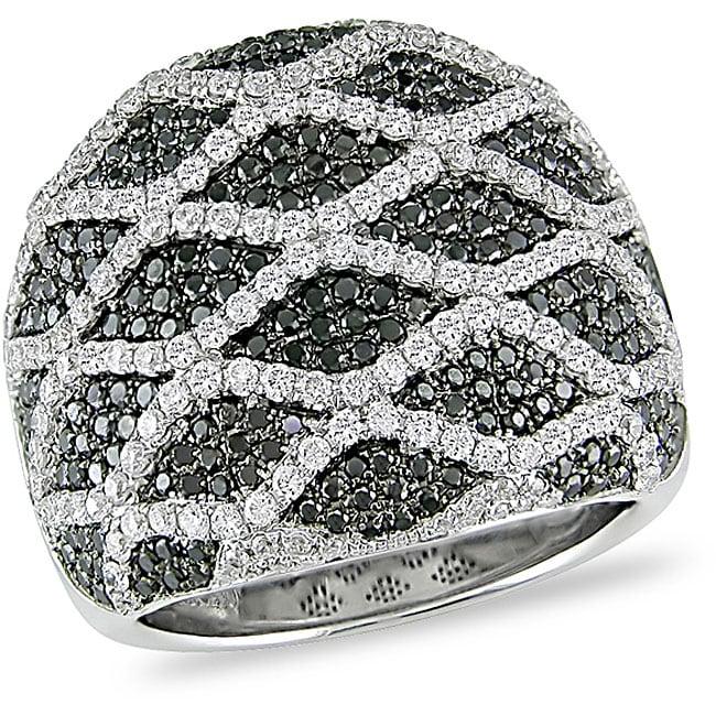 Miadora 18k Gold 2 1/8ct TDW Black and White Diamond Ring (G-H-I, SI)