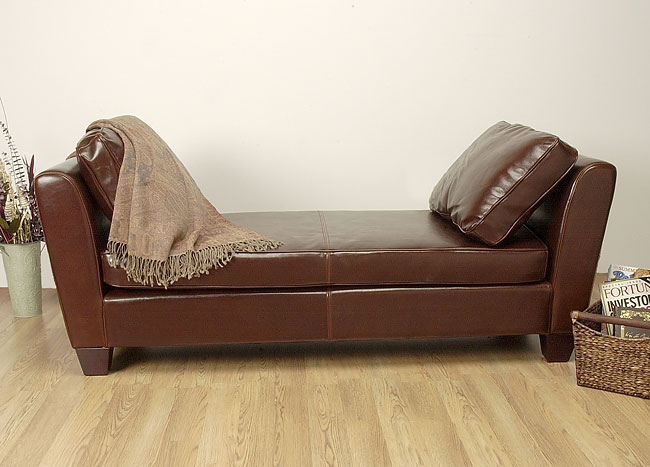 Paris Dark Brown Leather Bench/Daybed