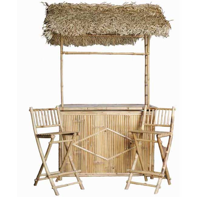 Shop Handcrafted Bamboo Tiki Bar With Two Stools (Vietnam