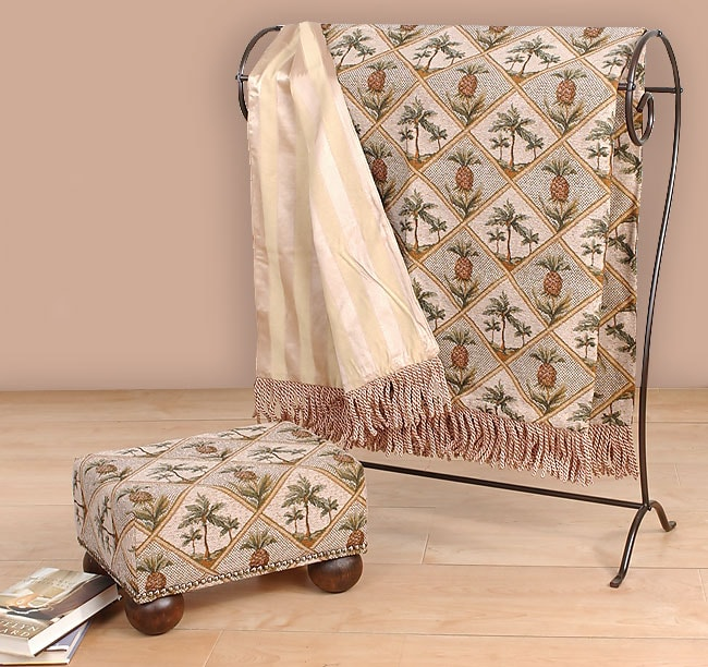 Pineapple Footstool and Throw Set