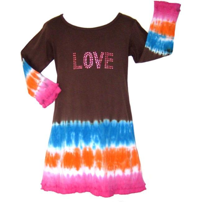 AnnLoren Girl's Tie-dye 'Love' Dress