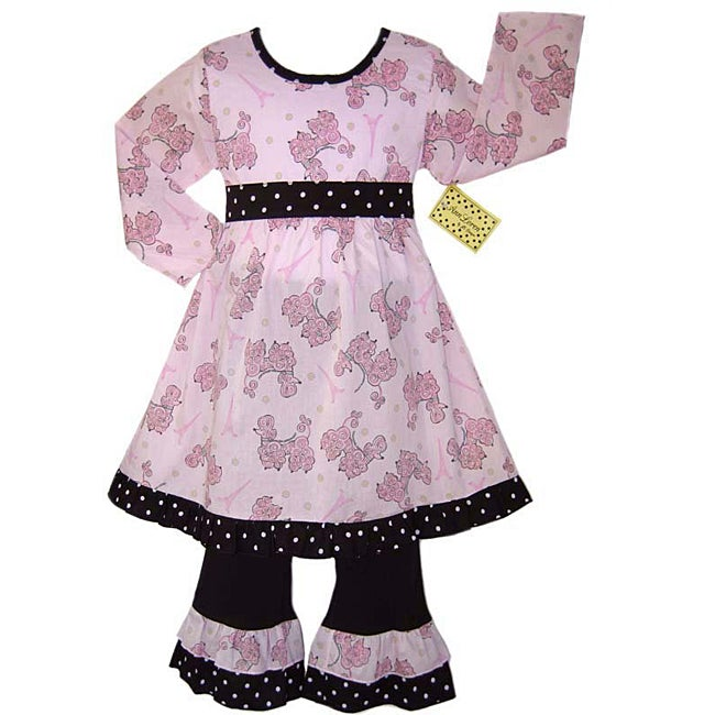 Shop AnnLoren Girl s French Poodle 2-piece Dress Outfit - Free Shipping On  Orders Over  45 - Overstock - 3276514 fd41ed4fb255