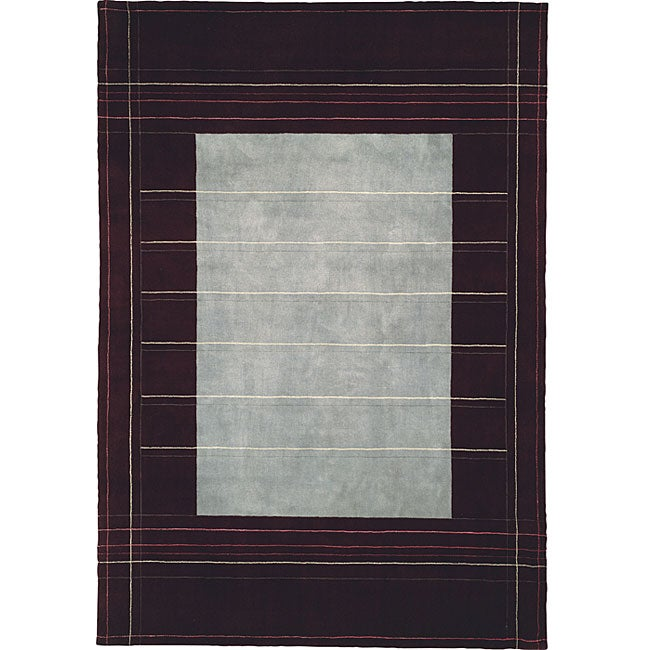 Calvin Klein Nourison Home Hand-knotted Wine (Red) Wool a...