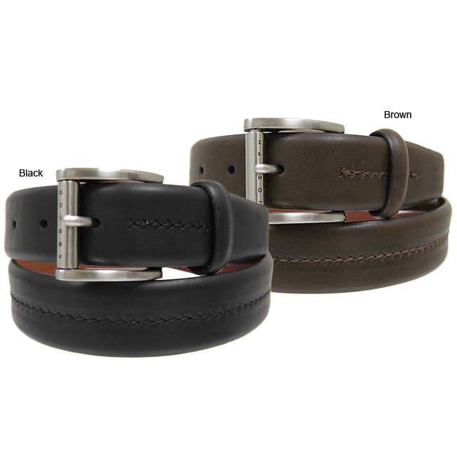 Joseph Abboud Men's Herringbone Leather Belt