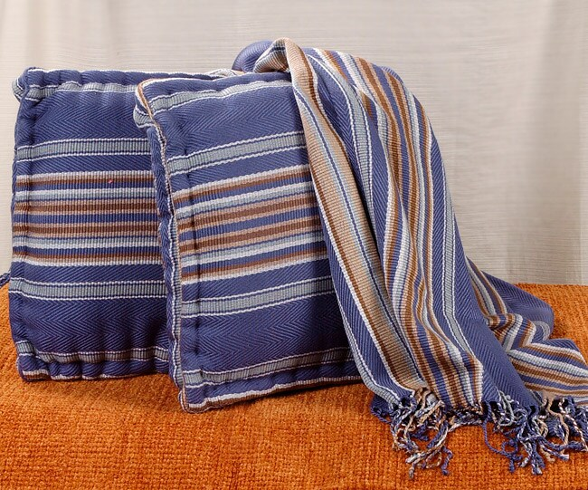 Cabana Blue Epic Throw Blanket/Two Pillow Set