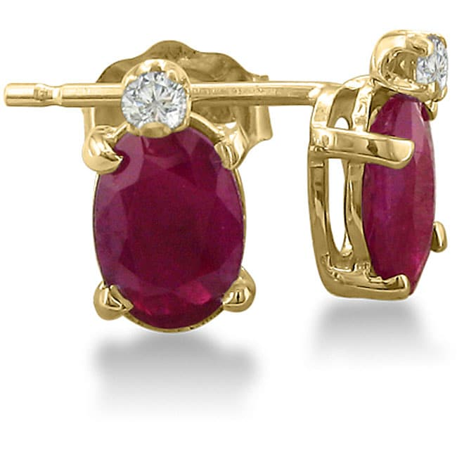 14k Yellow Gold Ruby And Diamond Stud Earrings