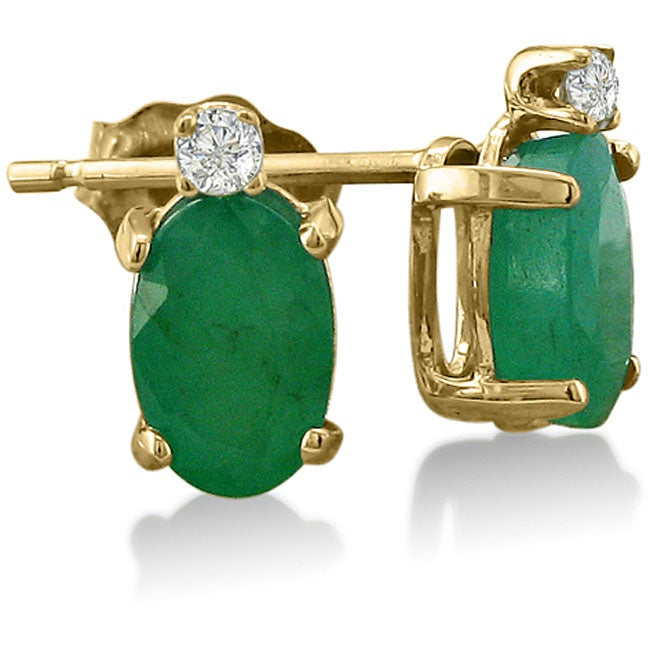 14k Yellow Gold Emerald And Diamond Stud Earrings