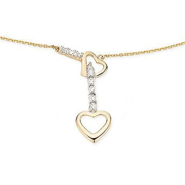 Miadora 14k Yellow Gold Diamond Heart Necklace