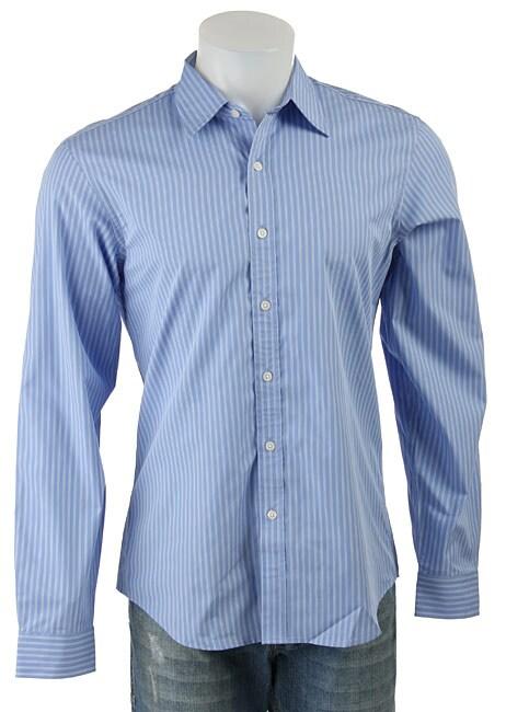 DKNY Men's Blue Stripe Button-down Shirt