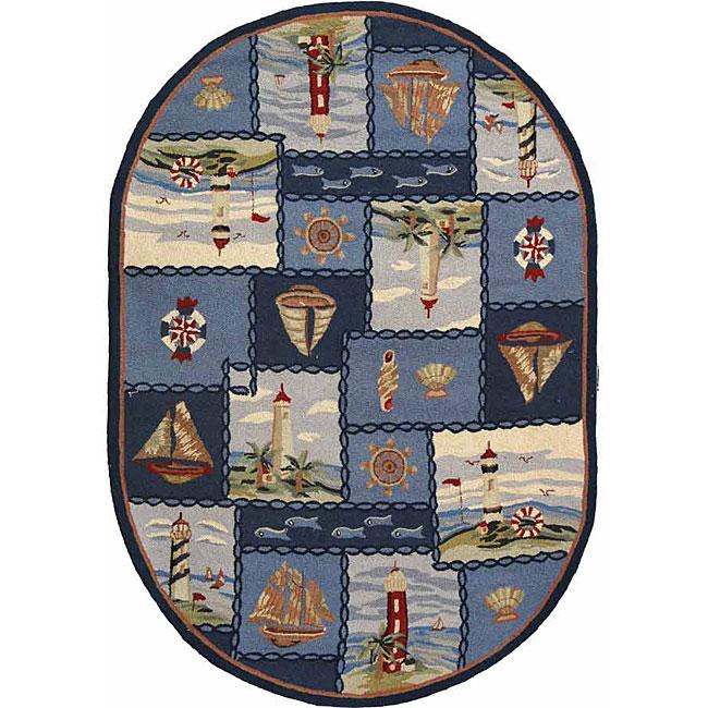 Nautical Blue Rug: Safavieh Hand-hooked Nautical Blue Wool Rug (4'6 X 6'6