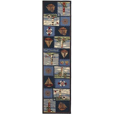 """Safavieh Hand-hooked Nautical Blue Wool Runner (2'6 x 8') - 2'6"""" x 8'"""