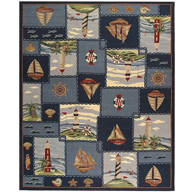 Safavieh Hand-hooked Nautical Blue Wool Rug (8'9 x 11'), ...