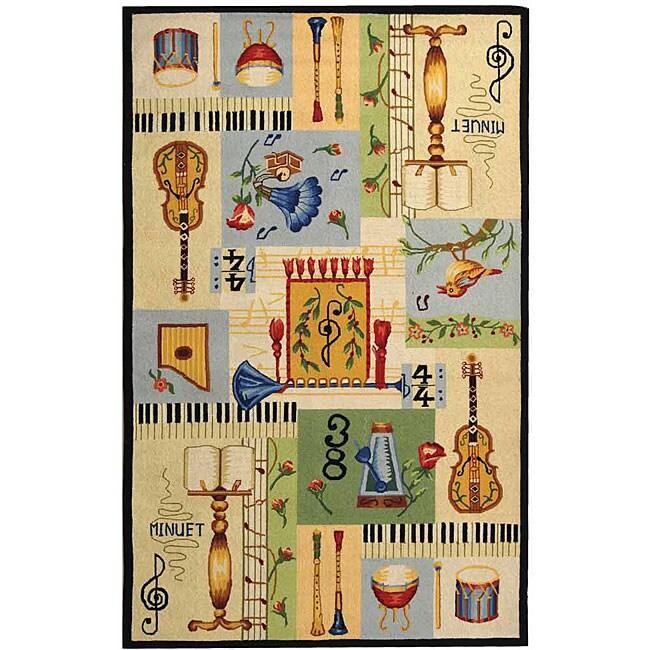 Safavieh Hand-hooked Musical Ivory/ Multi Wool Rug (7'9 x 9'9)