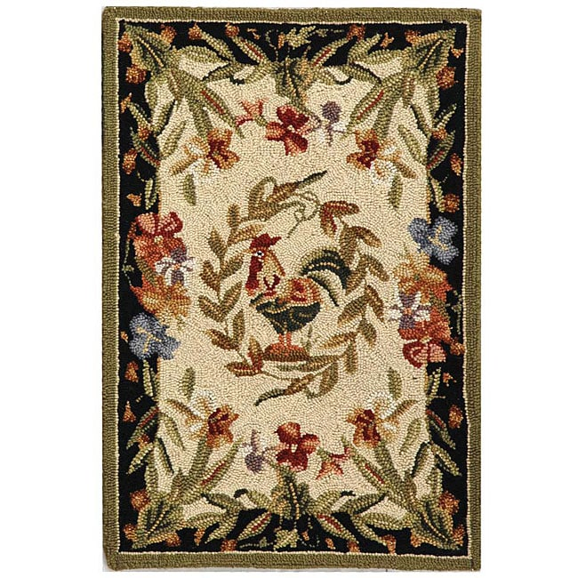 Shop Safavieh Hand Hooked Rooster And Hen Cream Black