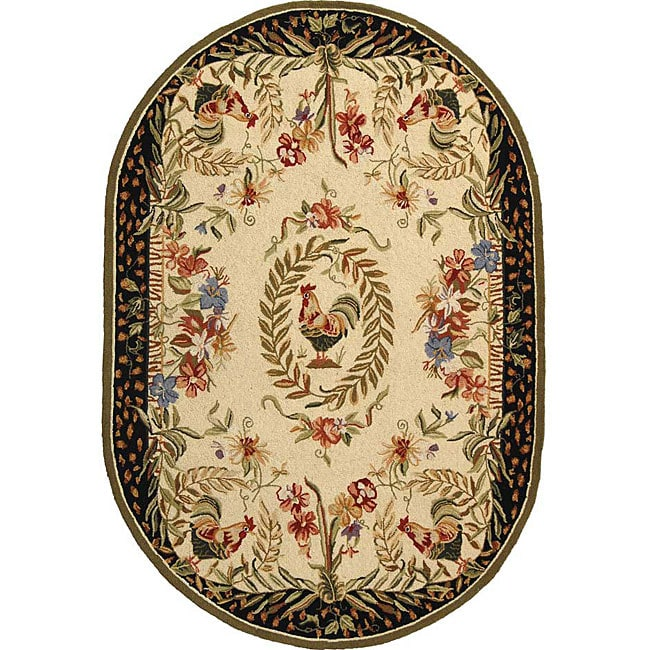 Safavieh Hand-hooked Rooster Cream/ Black Wool Rug (4'6 x 6'6 Oval)