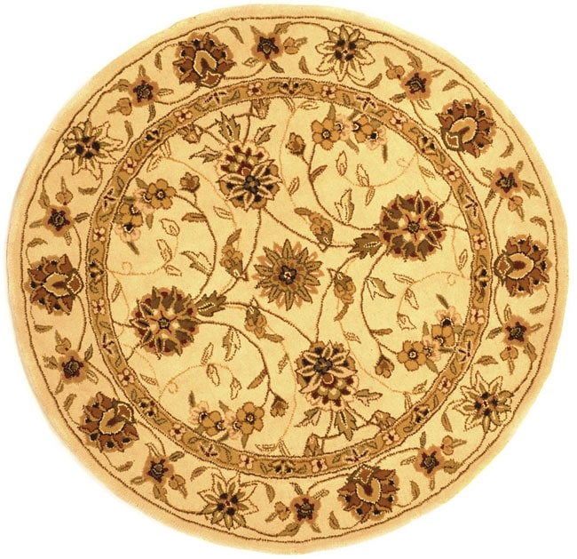 Safavieh Handmade Traditions Isfahan Ivory Wool and Silk Rug (6' Round) - Thumbnail 0
