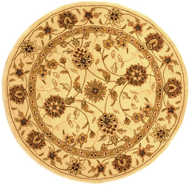 Safavieh Handmade Traditions Isfahan Ivory Wool and Silk Rug - 6' x 6' Round