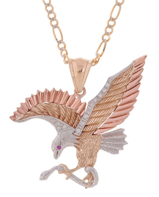 14-kt Gold Eagle and Snake Pendant with Figaro Chain