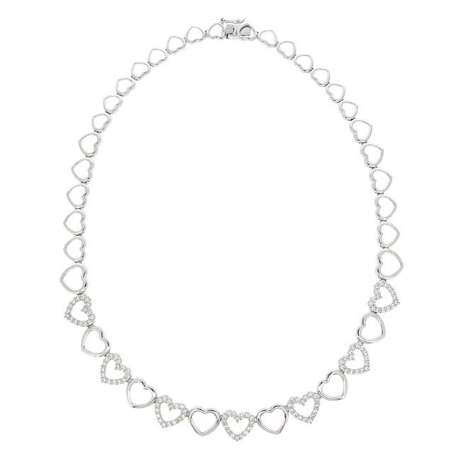 Icz Stonez Sterling Silver Cubic Zirconia Heart Link Necklace