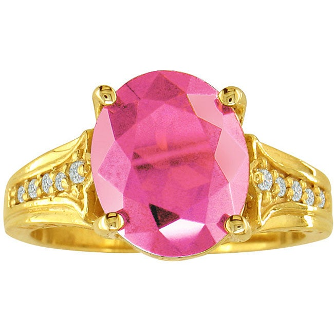 10k Yellow Gold Pink Topaz and Diamond Ring