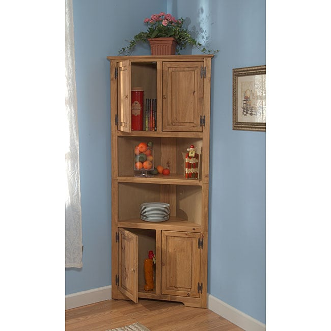 shop simple living pine corner cupboard free shipping today rh overstock com Living Room Cabinet Styles Living Rooms with TV in Corner