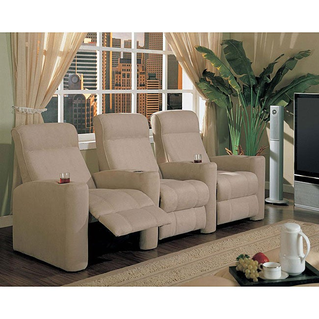 Shop Beige Microfiber Home Movie Theater Seats Set Of 3 Free