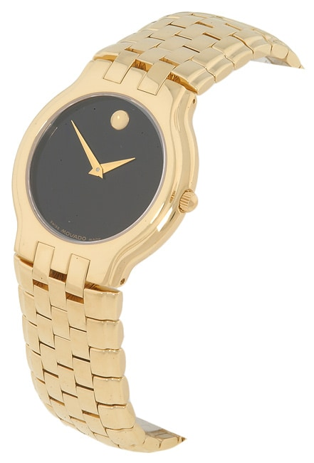 Movado Celestina Men's Goldtone Black Dial Watch