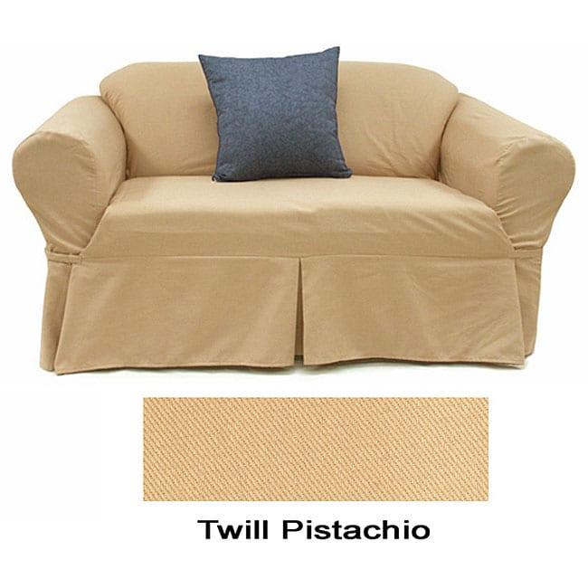 Shop Twill Pistachio Sofa Slipcover Free Shipping Today