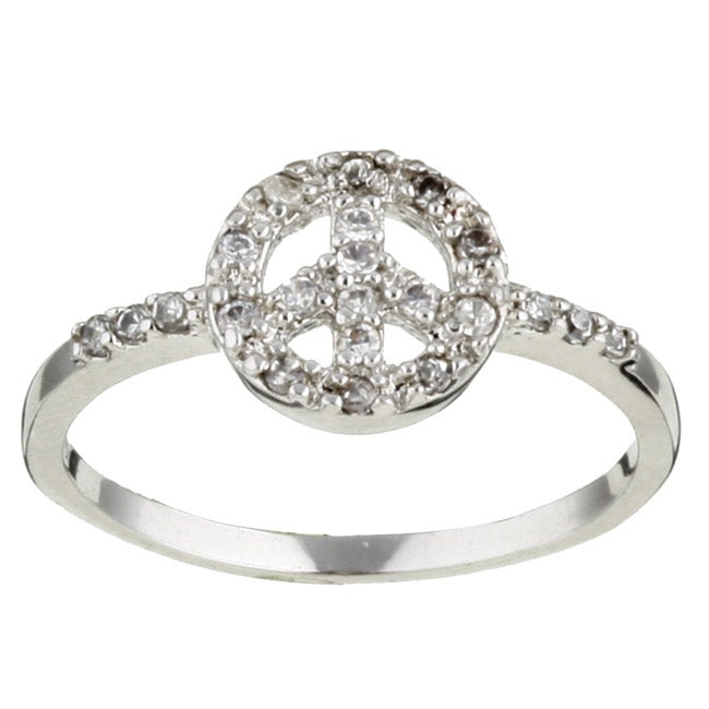 Sterling Essentials Sterling Silver and CZ Peace Ring
