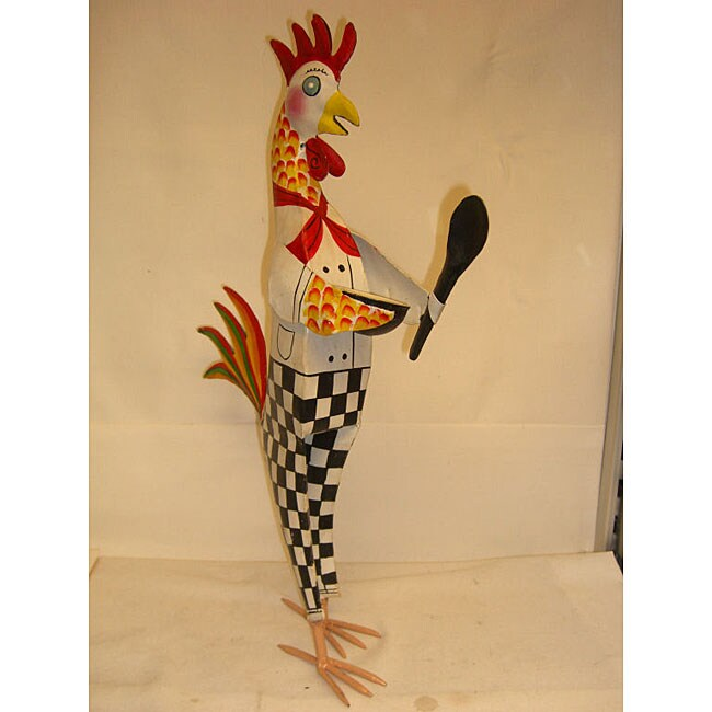 shop hand-painted metal chef rooster with mixing bowl - free