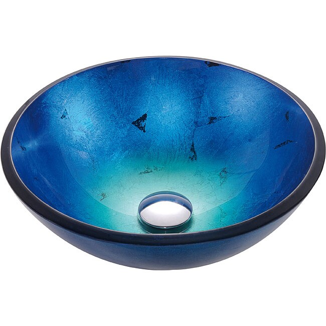 Kraus 14 Inch Irruption Blue Glass Vessel Sink