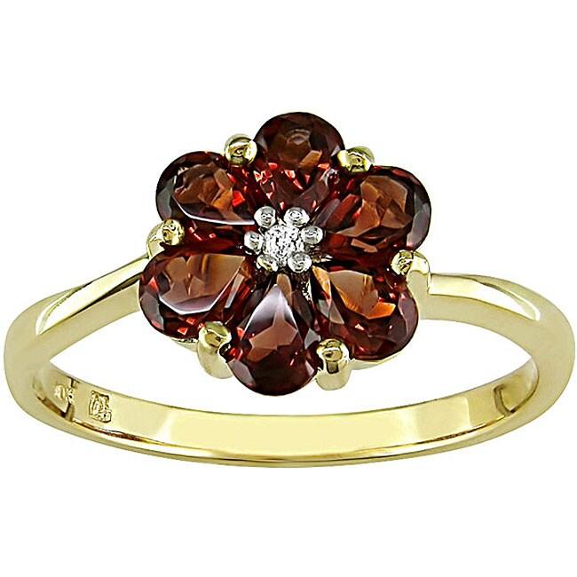 10k Gold Garnet and Diamond Accent Flower Ring