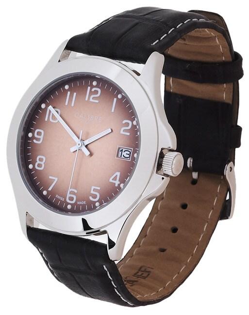Calibre Metallic Copper Dial Leather Strap Watch