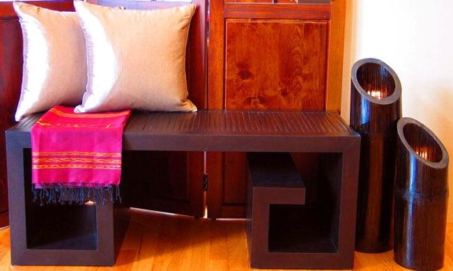 Asian Dark Mahogany Bench