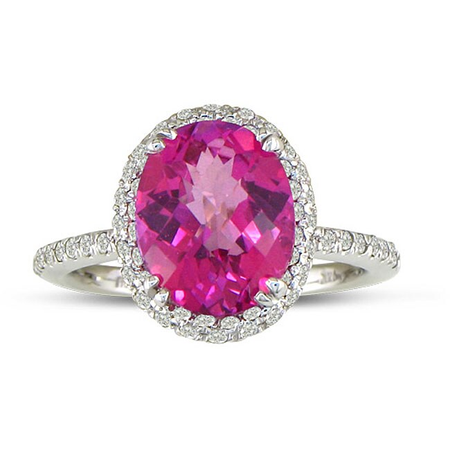 14k White Gold Pink Topaz and 1/2ct TDW Diamond Ring (J/K, I2/I3)