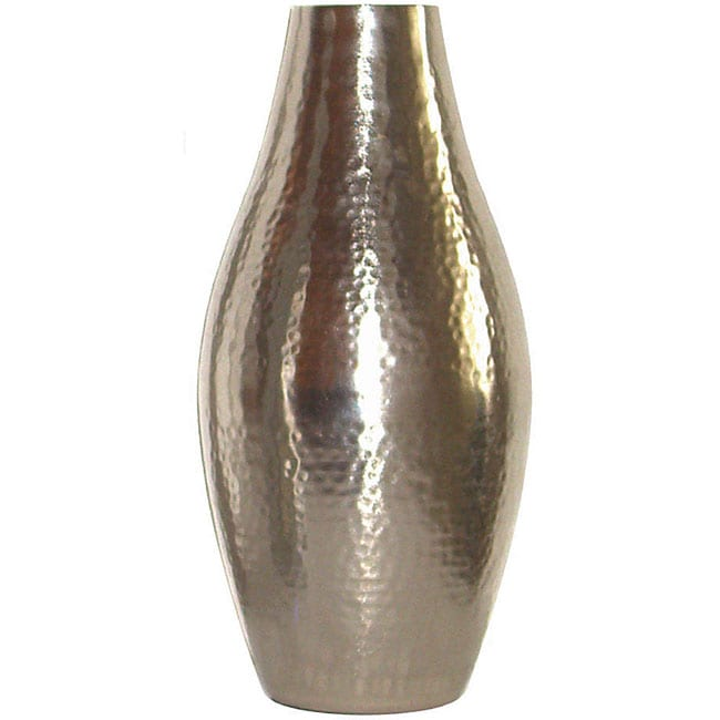 Shop Hammered Brushed Silver Metal Vases Set Of 2 Free Shipping