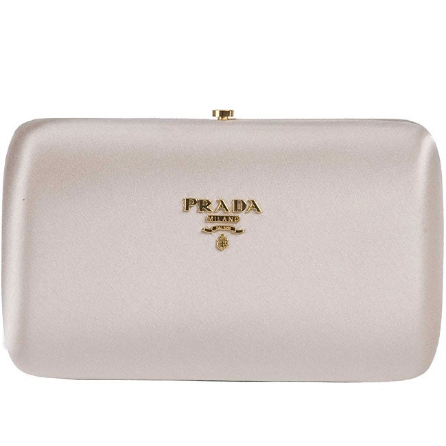 Prada 'Raso Gold' Beige Satin Mini Clutch