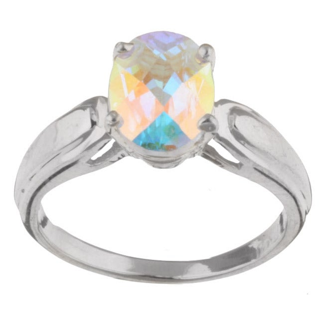 10k White Gold Mercury Mist Topaz Ring